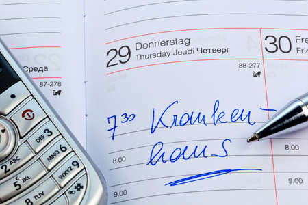 klinik: an appointment is entered on a calendar: hospital