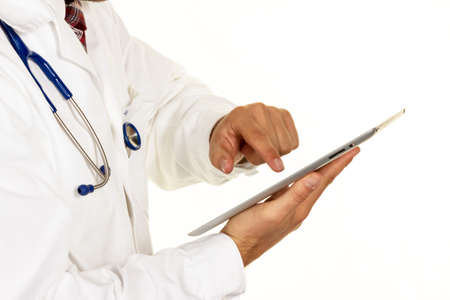 pracitioner: a young doctor with stethoscope and tablet