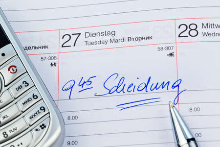 voltages: an appointment is entered on a calendar: divorce