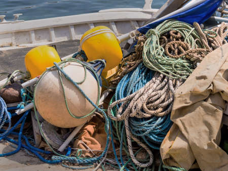 trawl: equipment on a boat, nets and ropes