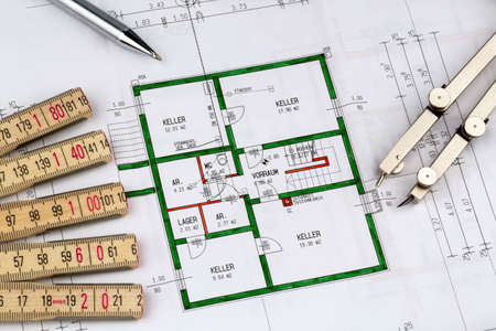 familiy: a blueprint of an architect for the construction of a new residential building. symbolic photo for financing and planning of a new house.
