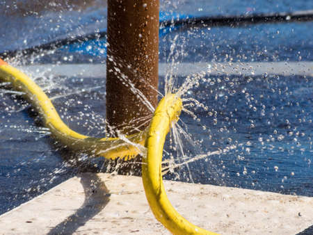 defective: irrigation method and defective hose, symbol photo for problems, glitches, errors Stock Photo