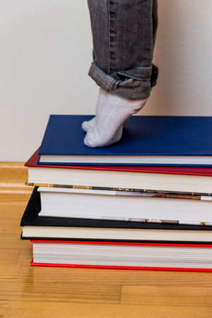 general knowledge: child standing on a pile of books, symbolizing education, reading skills, learning support