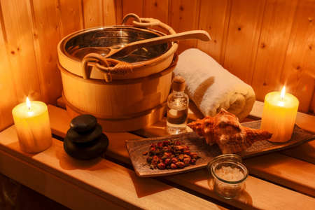 therapie: cozy atmosphere in the sauna at a spa area of a wellness hotel. recreation and relax from everyday life.
