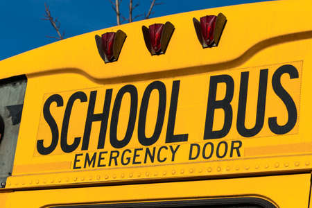 typical: a typical american school bus yellow