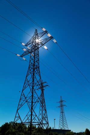 electricity generation: electricity pylon, symbol photo for electricity generation, supply and electricity grid