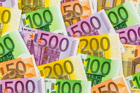 assessment system: many different euro bills. photo icon for wealth and investment