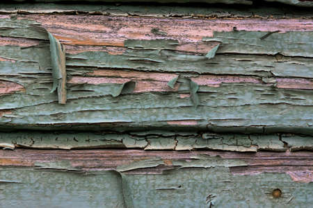 decent: old, exfoliated color in a wooden box. weather Stock Photo