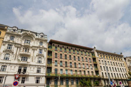 wagner: the vienna lines houses on naschmarkt. architecture of otto wagner in vienna, austria