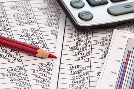 controlling: a calculator is located on the numbers a balance us statistics. photo icon for sales, profit and cost.