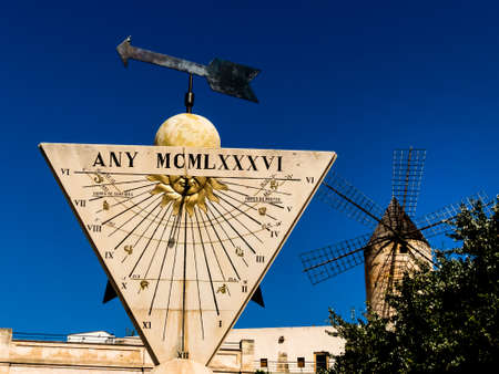 daylight: a sundial in the city of palma on mallora, spain.