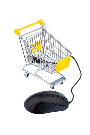 consumerist: basket and computer mouse symbolizing online shopping