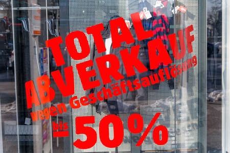 sales promotion: total sales for liquidation. symbolic photo for bankruptcy and retirement.