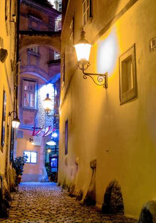 alley: the griechengasse in vienna, austria. evening shot at dusk