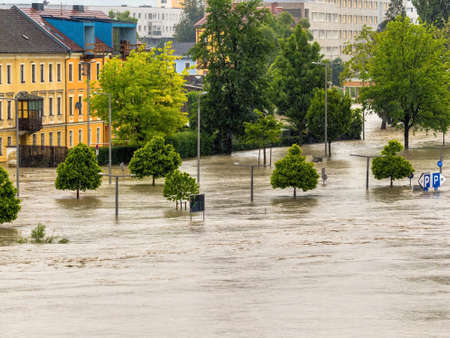 linz: flood 2013. linz, austria. overflows and flooding