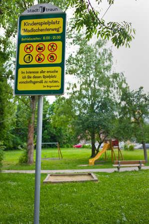 various signs, playground traun