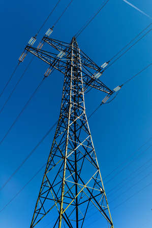 electricity grid: electricity pylon, symbol photo for electricity generation, supply and electricity grid