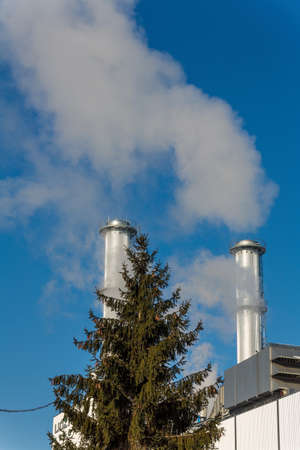 ozone: chimney of an industrial company with a tree. symbolic photo for environmental protection and ozone. Stock Photo