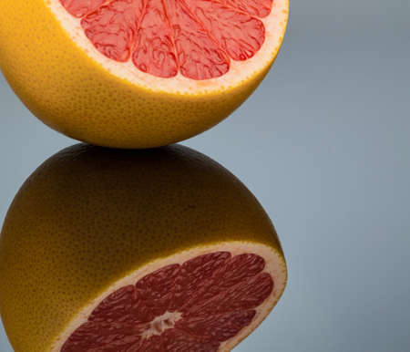 meatless: reflection of an orange. symbolic photo for healthy vitamins through fresh fruit
