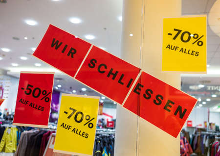 end times: a business in a shopping center will be closed for lack of profitability. Stock Photo