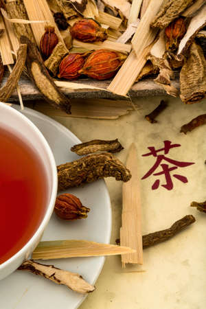 naturopaths: ingredients for a cup of tea in traditional chinese medicine. curing diseases through alternative methods.