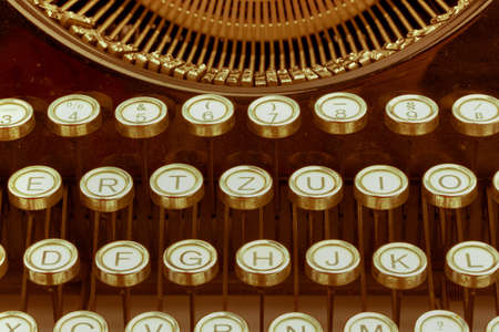 typewriter: keys of an old typewriter. photo icon for communication in former times
