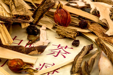 oriental medicine: ingredients for a cup of tea in traditional chinese medicine. curing diseases through alternative methods.