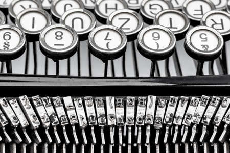 illiteracy: keys of an old typewriter. photo icon for communication in former times