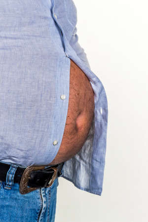 constrict: man with overweight. photo icon for beer belly, unsuccessful dieting and eating the wrong foods.