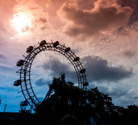 one of the landmarks of vienna in austria is the ferris wheel in the prater Stock Photo