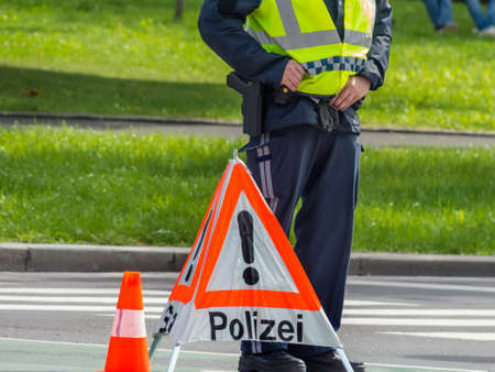 accident rate: a road is blocked in a police operation. Stock Photo