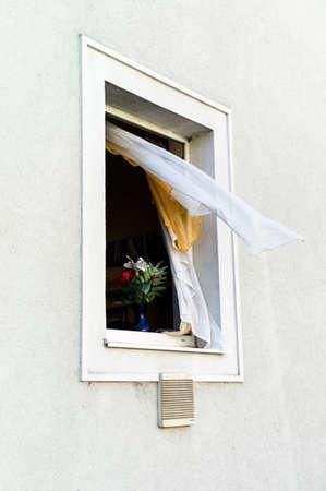 single familiy: open window, flower on window sill