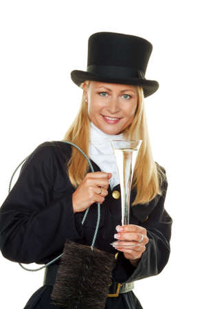 chimney sweep: woman as a chimney sweep. lucky charms at new year and new year. Stock Photo