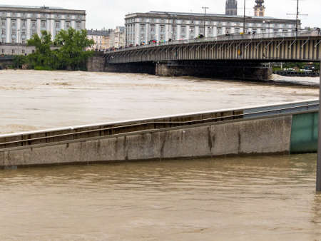 flooding: flood 2013. linz, austria. overflows and flooding