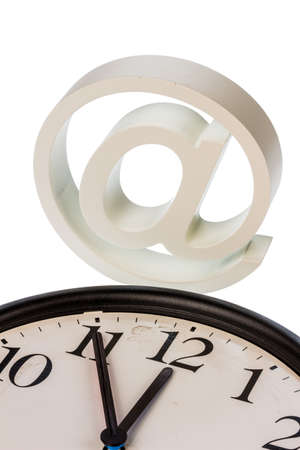 edv: a clock  shows and an e-mail logo: symbol photo for reform of data protection
