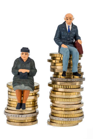 inequality: pensioners and pensioner sitting on money stack, symbol photo for retirement and inequality,