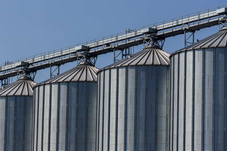 peasantry: silos for agricultural goods in a warehouse