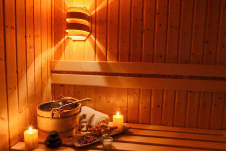 relaxen: cozy atmosphere in the sauna at a spa area of ??a wellness hotel. recreation and relax from everyday life.