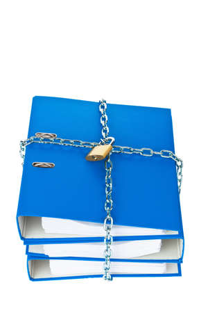 self contained: a file folder with chain and padlock closed. privacy and data security.