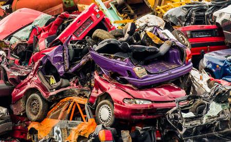 sponsoring: old cars in a junkyard. Stock Photo