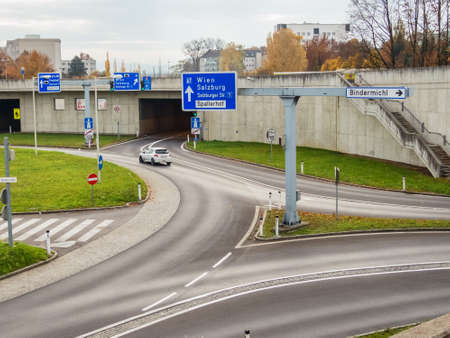 reassurance: austria, linz, city highway. tunnel for noise reassurance on binder michel on highway a7.