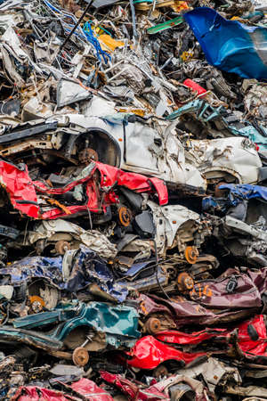 scrap: old cars were scrapped in a trash compactor. scrap iron and scrap bonus for car wrecks