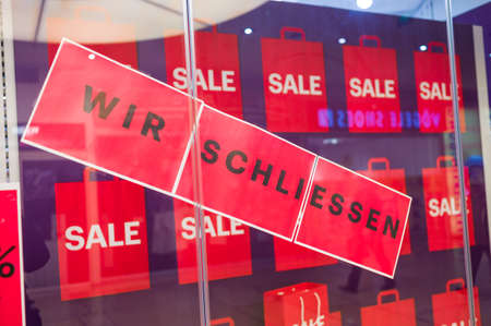 a business in a shopping center will be closed for lack of profitability. Stock Photo