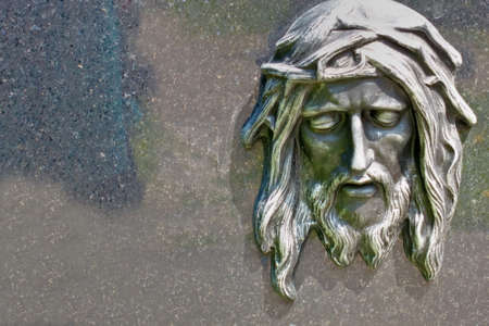 transcendence: christ head, relief, close-up