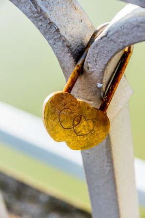 self contained: padlock symbolizing love, loyalty, partnership, romance Stock Photo