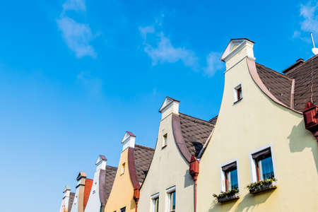 gables: town houses with traditional gables, symbol of housing, old, old town