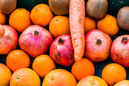 vitamin rich: fruits and vegetables on a vegetable market Stock Photo