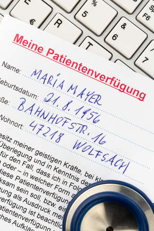 klinik: an advance in german. instructions for the doctor or the hospital in the event of a terminal illness. Stock Photo