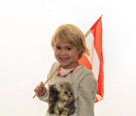 province: a child with flag of austria in hand