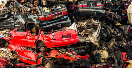 spares: old cars in a junkyard. Stock Photo
